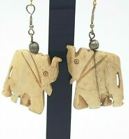 Vintage Hand Carved Stone Elephant Earrings Cream Dangle Silver Gold Tone Wire