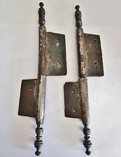 2 paires d'anciennes fiches à larder-en fer forgé-antique iron door hinges-18è