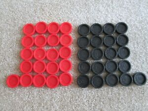 42 Connect Four 4 Replacement Pieces Checkers 21 Black & 21 Red Milton Bradley
