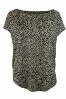 Womens Ladies Animal Print Cap Sleeve Loose Fit Casual Summer Top