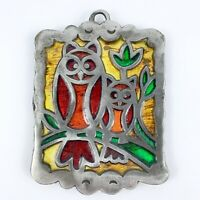 Vintage Cast Iron Owl Trivet Yellow Green Red Stained Glass Look MCM Retro
