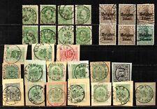 Lot de timbres anciens oblitérés - certains sur fragments.