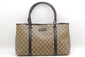 【Rank BC】Auth GUCCI GG Supreme 114595 Tote Bag PVC Leather FromJapan 068