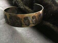 Vintage Reed & Barton Damascene OWL open cuff bracelet