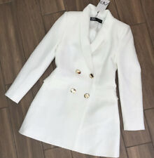 Zara Oyster White Double Breasted Frock Coat Jacket Blazer Dress Large L 12