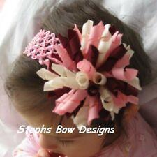 Pink Burgundy Ivory Fat Korker Hair Bow Headband fits Newborn to Adult