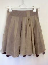 KAREN MILLEN BROWN & LATTE SILK OVERLAYER FLIPPY SKIRT SIZE 10