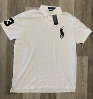 Polo Ralph Lauren Men's Big Pony #3 Custom Slim Fit Mesh Polo White Size XL NWT