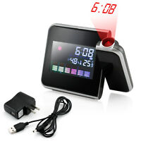 Projection Digital Weather LCD Snooze Alarm Clock Color Display LED Backlight RF