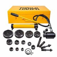 Hydraulic Knockout Punch Driver Kit 15 Ton 10 Dies 11 14 Gauge Conduit Hole Tool