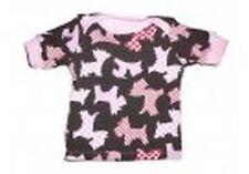 Handmade süßes T-Shirt / Schlupfshirt Gr. 62 / 68 braun mit rosa Hunde Motiven !
