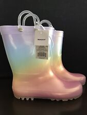 New listing Cat and Jack Child Girl Rain Boots Sz 12 Translucent Color - Waterproof
