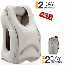 Portable Inflatable Travel Pillow Train Air Bus Face Neck Head Rest Office Nap ✔