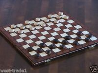 BRAND NEW HAND CRAFTED  WOODEN DRAUGHTS/CHECKERS SET 39cmx39cm