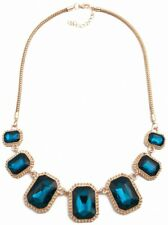 Women Blue Crystal Charm Statement Choker Pendant Popular Collar Necklace