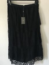 NWT  7 For All Mankind Black Lace Silk Ruffle Tiered Dress Sz Small