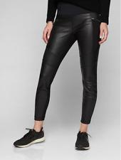 Athleta $349 S SMALL Ponte Leather Tight Leggings REAL GENUINE Black Moto Pants