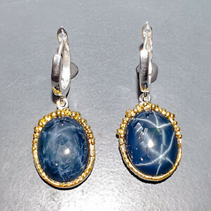 70 ct+ AAA recommend Blue Star Sapphire Earrings Silver 925 Sterling   /E55903