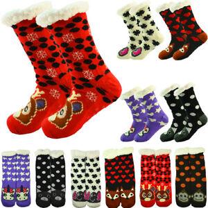 Women's Thick Nonskid Sherpa Fleece Lined Thermal Animal Fuzzy Slipper Socks LOT