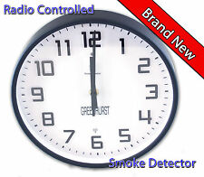 Greenhurst Radio Controlled Wall Clock & Built in Smoke Detector Glass & Alloy