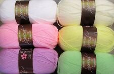 BABY MIX *6x100g*  dk mixed wool bundle lot WHITE CREAM LEMON GREEN PINK LILAC