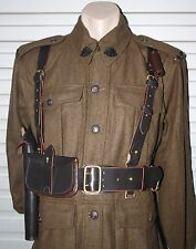 WW1 BRITISH ARMY OFFICER SAM BROWN COMPLETE SET - REPRO DOUBLE STRAP