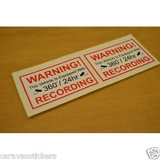 Car Window '24Hr CCTV Recording' Stickers Decals Graphics - PAIR