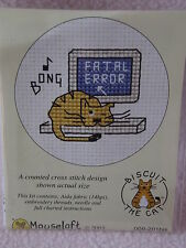 MOUSELOFT STITCHLETS CROSS STITCH KIT ~ BISCUIT THE CAT ~ FATAL ERROR ~ NEW