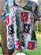 Orintal Print SCRUB TOP Size ( S ) Stand Up Small Collar,Seam Binding,Tie Back