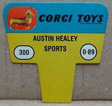 Corgi Toys original 1960s shop display point of sale card sign - Austin Healey