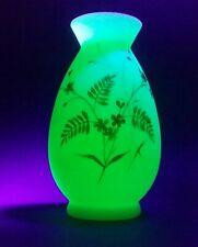 Victorian Uranium Glass White Gold Enamel Floral Hand Painted Design Vase 1800's