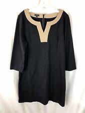 Talbots Black Tan Dress Size 14 NEW TAGS Tan Tunic Womens  $129 XL V Neck