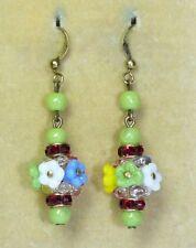 rhinestone earrings to match 30s necklaces Vintage Art Deco Czech glass flower &