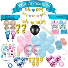 Gender Reveal Party Supplies,  Baby Shower Boy or Girl Reveal Kit (110 Pieces)