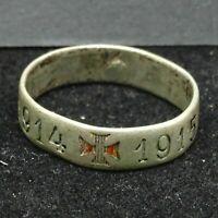 WWI Ring Patriotic Iron Cross 1914-1915 Hallmark JD Sterling Silver 2.7g Germany