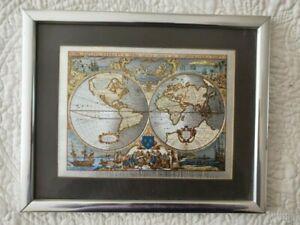 NOVA TOTIVS TERRARVM ORBIS Geographic & Oceanic World Map, Foil, Framed. VGC