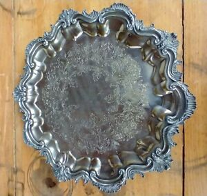 """Crown Silver Company ( CSC) Silver Plated Footed Serving Tray 13.5"""""""