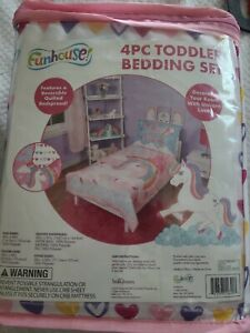 Funhouse 4 Piece Toddler Bedding Set - Quilted Comforter, Fitted Sheet & More