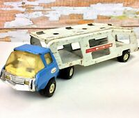 1974 TONKA Truck Motor Mover Tractor Trailer Blue & White Car Transport Rig USA