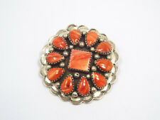 Vtg Native American Sterling Silver Red Spiny Oyster Stamped Concho Pendant Pin
