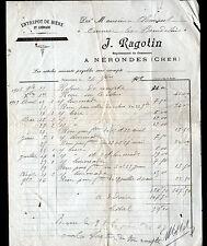 """NERONDES (18) ENTREPOT de BIERE & LIMONADE """"J. RAGOTIN"""" en 1909"""