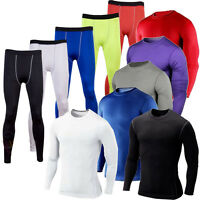Men Sports T Shirt Apparel Compression Base Under Layer Workout Long Pants