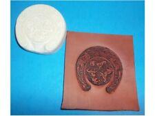 "NEW!  Celtic Horses in Horseshoe Leather Emboss Plate  2 1/2"" x 2 7/8"""