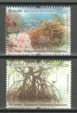 SRI LANKA 2021 SINGAPORE JOINT ISSUE MANGROVES & CORAL REEF COMP. SET OF 2 STAMP