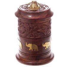 Sheesham Wood Carved Jar with Elephant Inlay