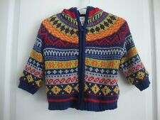 Baby Gap Blue Fair Isle Cardigan Sweater Infant Boy Size 6 - 12 Months Euc Fall
