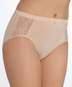 Bali Cotton Desire Hi-cut Brief Panty wLace DFCD62 CD62 Champagne Beige Nude 7 L