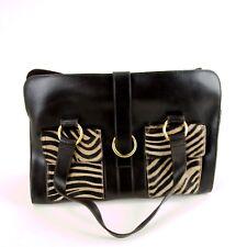 Furla Bag Leather Zebra Coffee Shoulder Gold Tone Hardware Purse Button  Close 8a6b918022bcd