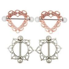 4pcs Heart Nipple Rings Shield Barbell Navel Ring Flame Hollow Women 18G 14G