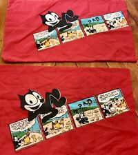 Vintage Felix the Cat Bedding 2 Pillow Cases 1983 Comic Strip Pattern R*A*R*E